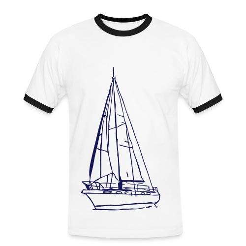 Segelboot [Männer weiß/navy] - Männer Kontrast-T-Shirt