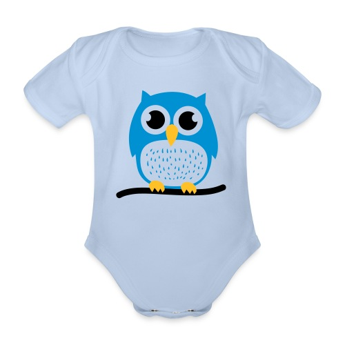 Organic Short-sleeved Baby Bodysuit - one-piece,blue,Baby