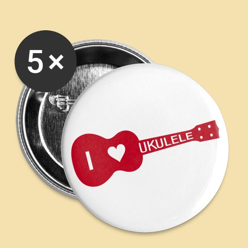Button: I love UKULELE (Motiv rot) - Buttons klein 25 mm