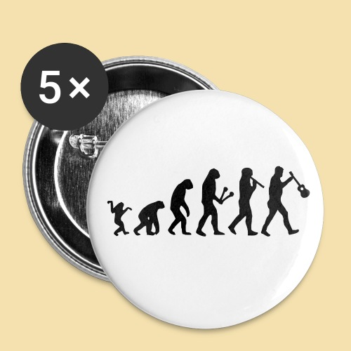 Button: Evolution (Motiv schwarz)   - Buttons groß 56 mm (5er Pack)