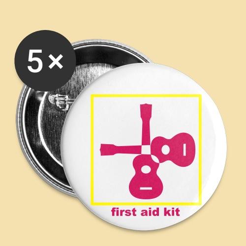 Button: first aid kit (Motiv schwarz)   - Buttons groß 56 mm (5er Pack)