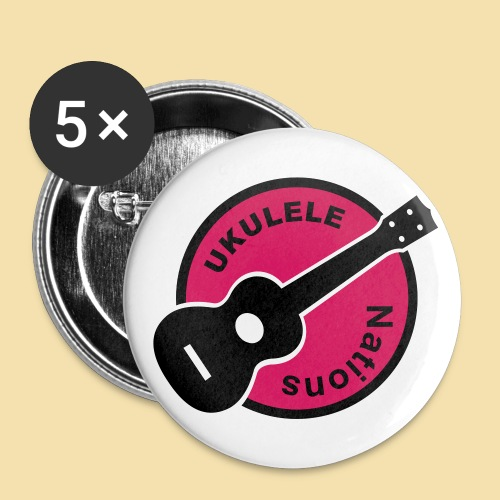 Button: Ukulele Nations (Motiv schwarz/rot)   - Buttons groß 56 mm
