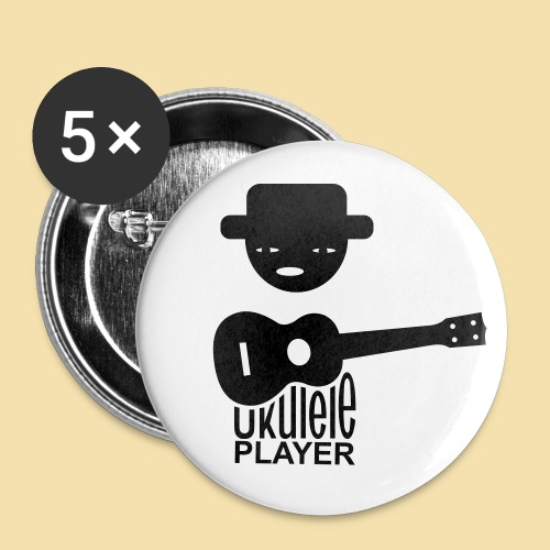 Button: Ukulele Player (Motiv schwarz)   - Buttons groß 56 mm