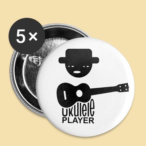 Button: Ukulele Player (Motiv schwarz)   - Buttons groß 56 mm (5er Pack)