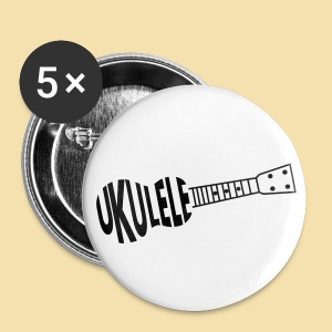 Button: UKULELE (Motiv schwarz)   - Buttons groß 56 mm