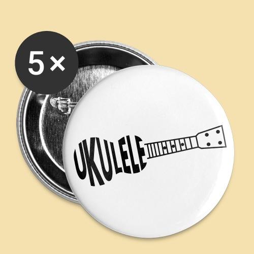 Button: UKULELE (Motiv schwarz)   - Buttons groß 56 mm (5er Pack)