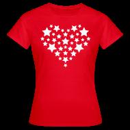 T-shirts ~ Vrouwen T-shirt ~ Star heart - Wit fijn glitter