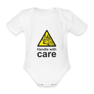 Handle with care - Organic Short-sleeved Baby Bodysuit