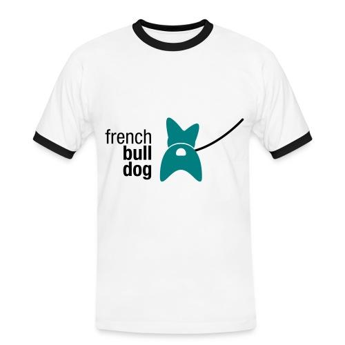 Männer Kontrast-T-Shirt - niedlich,muskulös,liebenswert,kräftig,kompakt,knuffig,kein Mops,große Ohren,french bulldog,bullig,Po,Mops,Kraftpaket,Hund,Hinterteil,Französische Bulldogge,Bulldogge