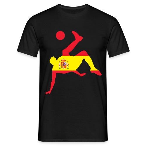 Camiseta hombre - Jugador sobre bandera española realizando una chilena.