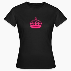 Keep calm crown neon pink on black t-shirt