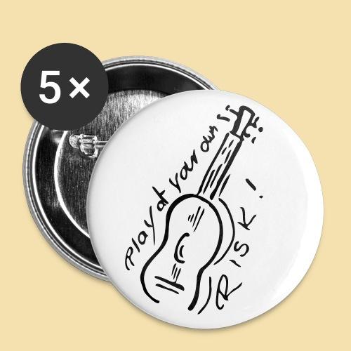 Button: Play at your own RISK (Motiv: schwarz) - Buttons groß 56 mm (5er Pack)