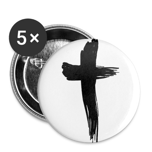 Kreuz schwarz - Buttons groß 56 mm