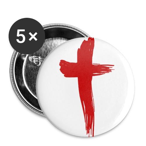 Kreuz rot - Buttons groß 56 mm