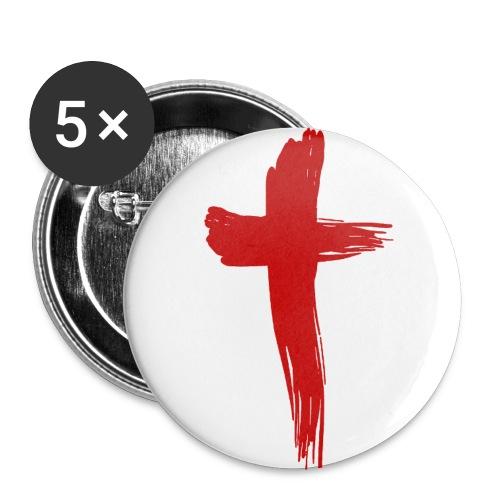 Kreuz rot - Buttons mittel 32 mm