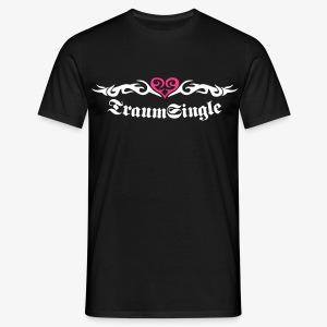 TRAUM-SINGLE 2c Tattoo Look + Herz Heart Männer Shirt schwarz + alle Farben - Männer T-Shirt