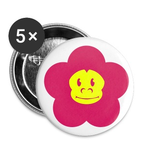 Retro Monkey Blumen Button Neon - Buttons groß 56 mm