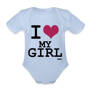 Body *I love my girl* - Baby Bio-Kurzarm-Body