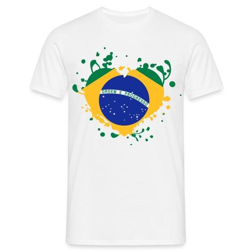 Drapeau T shirt brésilien éclats coeur - T-shirt Homme