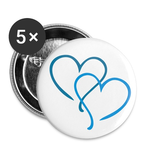 Blue Hearts *Buttons* - Buttons large 56 mm