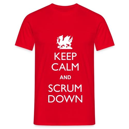 Wales Keep Calm Scrum Down - T - Men's T-Shirt