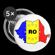 Buttons & Anstecker ~ Buttons groß 56 mm ~ Button mit Rumänien-Karte RO-EU