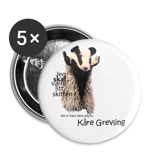 Kåre Grevling Button A - Stor pin 56 mm (5-er pakke)