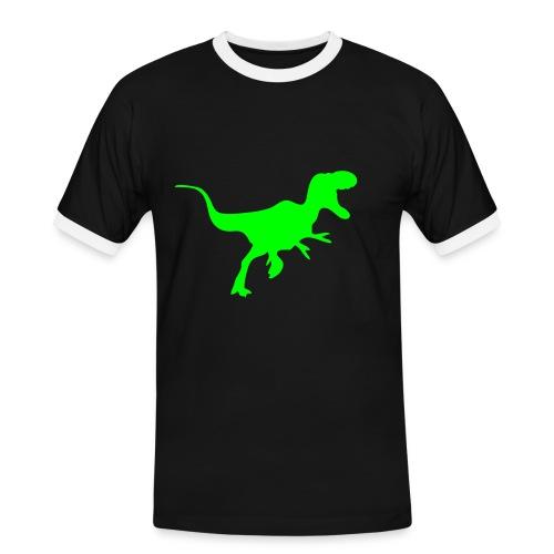 Retro sport neongrøn T-rex - Herre kontrast-T-shirt