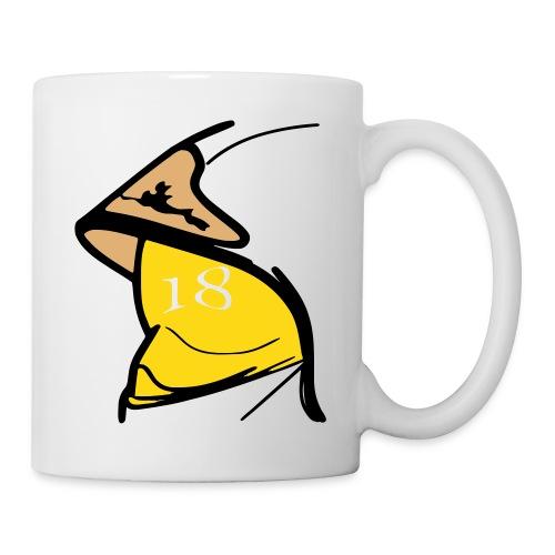 Casque F1 visière jaune 18 - Mug blanc