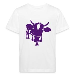 kuh rind muh milch bauer farm alm heidi fleckvieh  lila cow Kinder T-Shirts - Kinder Bio-T-Shirt