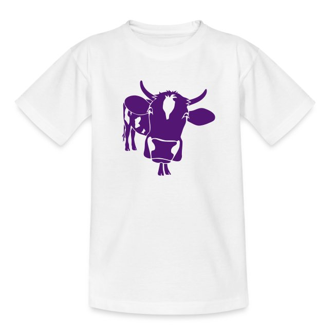 kuh rind muh milch bauer farm alm heidi fleckvieh  lila cow Kinder T-Shirts