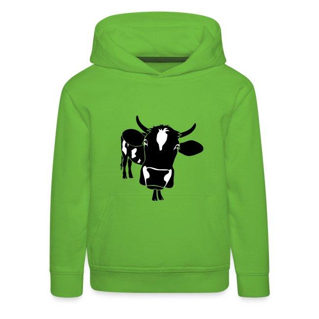 kuh rind muh milch bauer farm alm heidi fleckvieh  lila cow Kinder Pullover