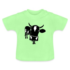 kuh rind muh milch bauer farm alm heidi fleckvieh  lila cow Baby T-Shirts - Baby T-Shirt