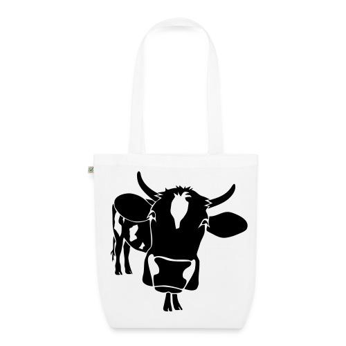 kuh rind muh milch bauer farm alm heidi fleckvieh  lila cow Taschen - Bio-Stoffbeutel