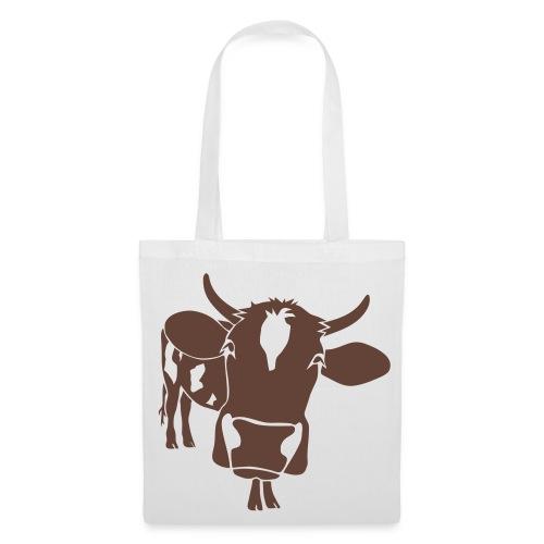 kuh rind muh milch bauer farm alm heidi fleckvieh  lila cow Taschen - Stoffbeutel