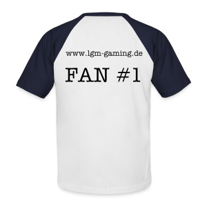 Baseball-Shirt: Fan #1, rot-weiß - Männer Baseball-T-Shirt