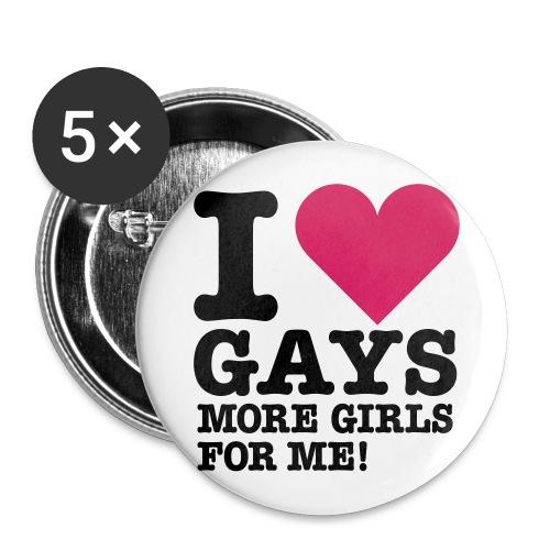 I <3 gays, more girls for ME! - Buttons/Badges stor, 56 mm (5-pack)