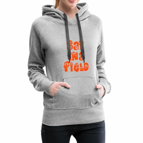 Women's Premium Hoodie - - Signature Sat In A Field chest logo - Small lower back logo - Light grey with orange print