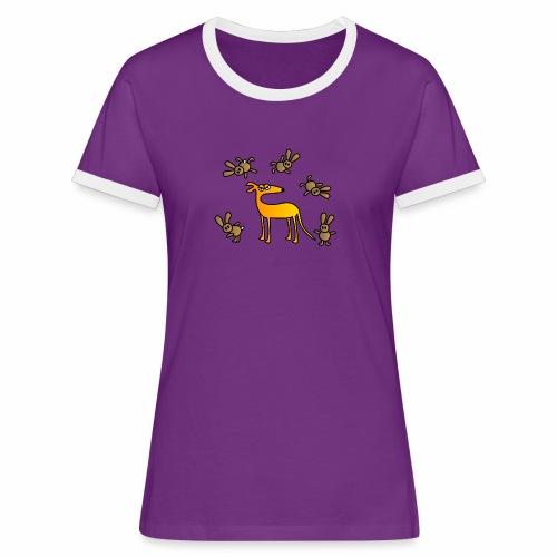 Galgo und Hasen bunt - Frauen Kontrast-T-Shirt