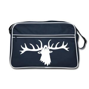 tiershirt t-shirt hirsch röhrender brunft geweih elch stag antler jäger junggesellenabschied förster jagd - Retro Tasche