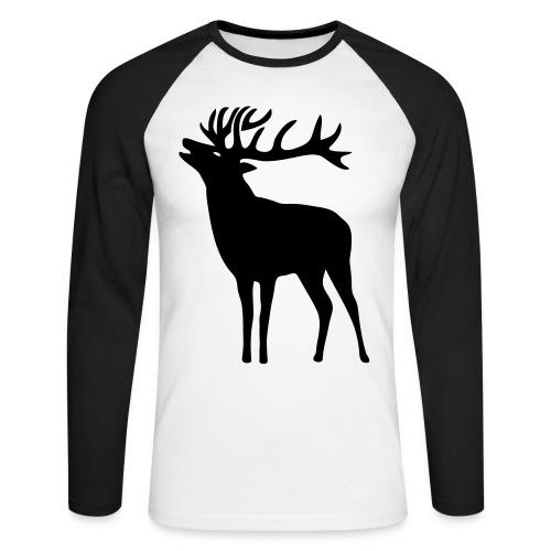 tiershirt t-shirt hirsch röhrender brunft geweih elch stag antler jäger junggesellenabschied förster jagd - Männer Baseballshirt langarm
