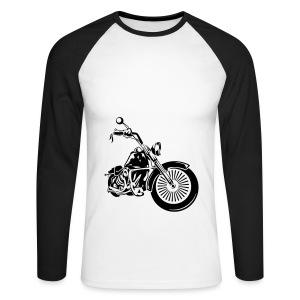Männer T-Shirt mit Motorradmotiv - Männer Baseballshirt langarm