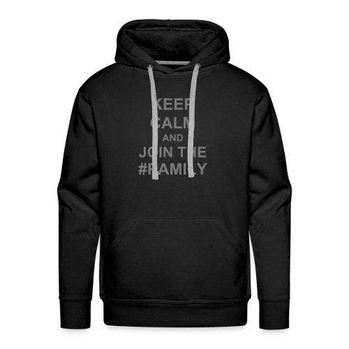 Men's Premium Hoodie - Gray text (you choose the colour of your shirt).