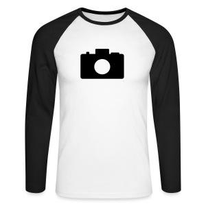 Männer Langarm Shirt mit blauen Ärmeln Fotoapparat - Männer Baseballshirt langarm
