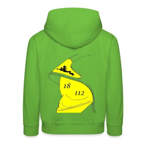 Pull à capuche Premium Enfant - 112,18,France,Sapeurs,alarme,botte,casque,extincteur,feu,grade,incendie,lance,pompiers,professionnel,sauvetage,secourisme,sécurité,veste,volontaire