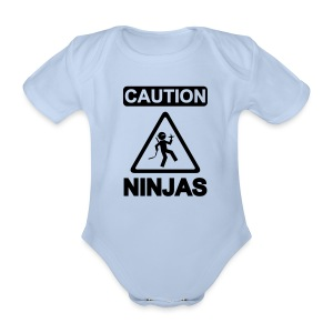Caution Ninjas - Baby Bio-Kurzarm-Body