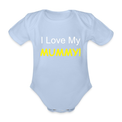 Baby Boy Love Mum - Organic Short-sleeved Baby Bodysuit