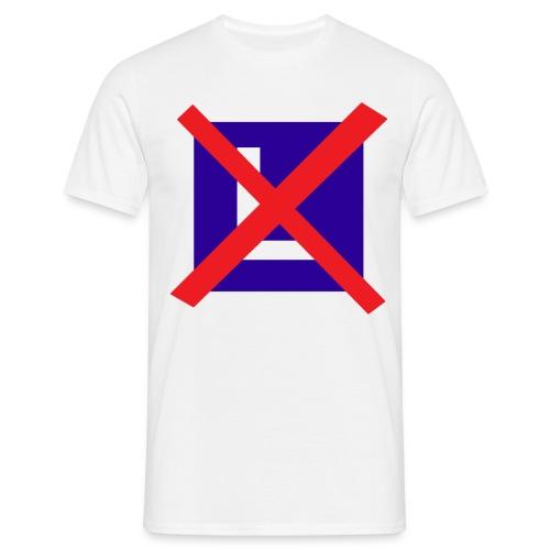 Mannen T-shirt - Shirt met een rood kruis door een les bordje.