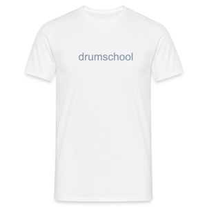 Men's T-Shirt - Men's Classic T-Shirt With Drum School Logo In Silver Metallic On Front.
