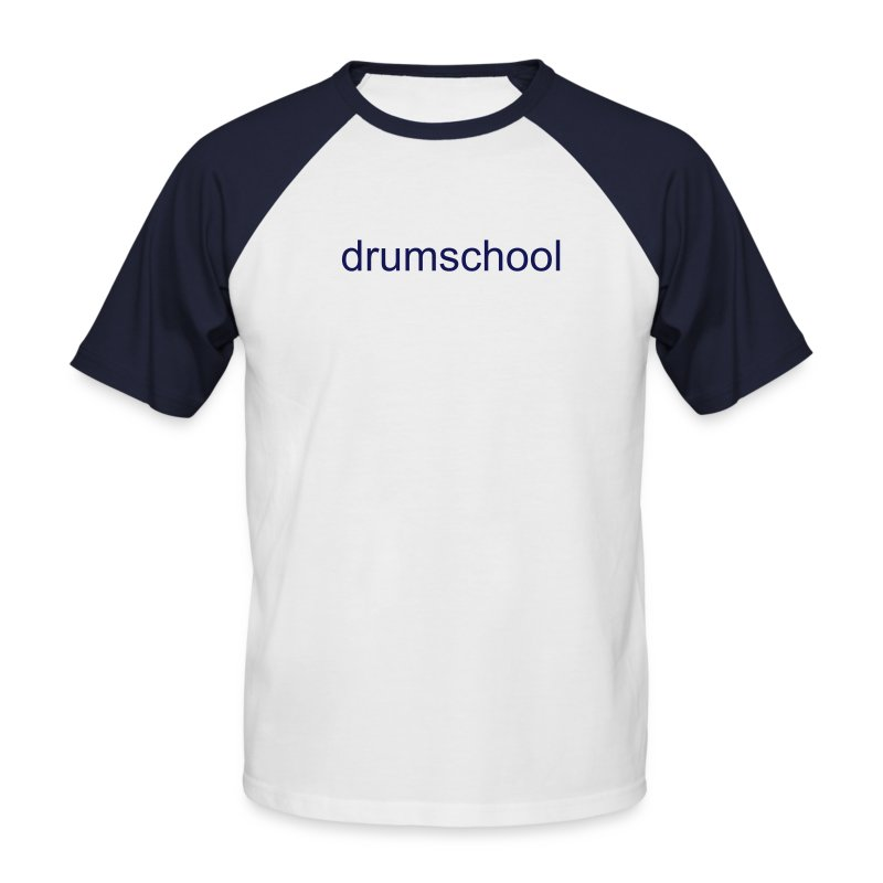 Men's Baseball T-Shirt - Mens Short Sleeve Baseball Shirt With Drum School Logo In Navy On Front.